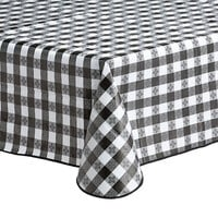 Choice 52 inch x 52 inch Black Textured Gingham Vinyl Table Cover with Flannel Back