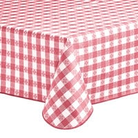 Choice 52 inch x 52 inch Burgundy Textured Gingham Vinyl Table Cover with Flannel Back
