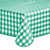 Choice 52 inch x 52 inch Green Textured Gingham Vinyl Table Cover with Flannel Back
