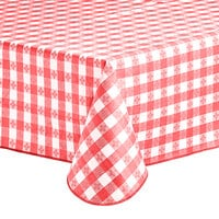 Choice 52 inch x 52 inch Red Textured Gingham Vinyl Table Cover with Flannel Back