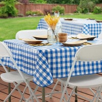 Choice 52 inch x 52 inch Royal Blue Textured Gingham Vinyl Table Cover with Flannel Back