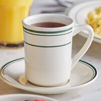 Acopa 8 oz. Ivory (American White) Stoneware Cup with Green Bands - 36/Case