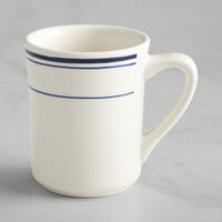 Acopa 8 oz. Ivory (American White) Stoneware Cup with Blue Bands - 36/Case