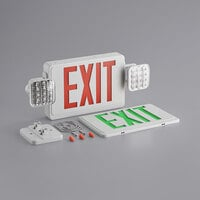Lavex Industrial Red and Green LED Exit Sign / Emergency Light Combo with Adjustable Arrows and Ni-MH Battery Backup - 3.5 Watt Unit