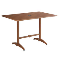 Lancaster Table & Seating 32 inch x 48 inch Brown Powder-Coated Aluminum Dining Height Outdoor Table with Umbrella Hole