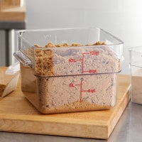 Cambro 12SFSCW135 12 Qt. Clear Square Polycarbonate Food Storage Container with Red Gradations