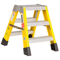 Bauer Corporation 35202 352 Series Type 1AA 2' Safety Yellow Fiberglass Two-Way Step Ladder - 375 lb. Capacity