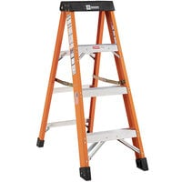 Bauer Corporation 30404 304 Series Type 1A 4' Safety Orange Fiberglass Step Ladder - 300 lb. Capacity