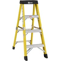Bauer Corporation 35004 350 Series Type 1AA 4' Safety Yellow Fiberglass Step Ladder - 375 lb. Capacity