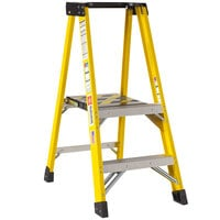 Bauer Corporation 35104 351 Series Type 1AA 4' Safety Yellow Fiberglass Platform Ladder with Steel Platform - 375 lb. Capacity