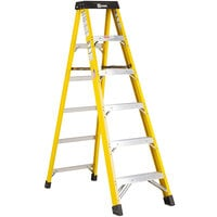 Bauer Corporation 30806 308 Series Type 1AA 6' Safety Yellow Fiberglass Step Ladder - 375 lb. Capacity