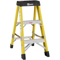 Bauer Corporation 35003 350 Series Type 1AA 3' Safety Yellow Fiberglass Step Ladder - 375 lb. Capacity