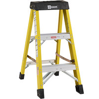 Bauer Corporation 30803 308 Series Type 1AA 3' Safety Yellow Fiberglass Step Ladder - 375 lb. Capacity