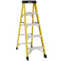Bauer Corporation 30805 308 Series Type 1AA 5' Safety Yellow Fiberglass Step Ladder - 375 lb. Capacity