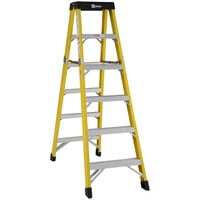 Bauer Corporation 35206 352 Series Type 1AA 6' Safety Yellow Fiberglass Two-Way Step Ladder - 375 lb. Capacity