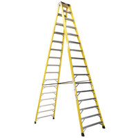 Bauer Corporation 35216 352 Series Type 1A 16' Safety Yellow Fiberglass Two-Way Step Ladder - 300 lb. Capacity