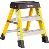 Bauer Corporation 35002 350 Series Type 1A 2' Safety Yellow Fiberglass Step Ladder - 300 lb. Capacity