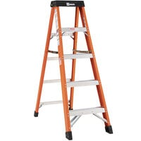 Bauer Corporation 30405 304 Series Type 1A 5' Safety Orange Fiberglass Step Ladder - 300 lb. Capacity