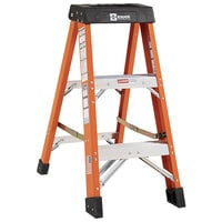 Bauer Corporation 30403 304 Series Type 1A 3' Safety Orange Fiberglass Step Ladder - 300 lb. Capacity