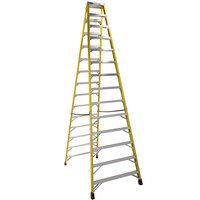 Bauer Corporation 35214 352 Series Type 1A 14' Safety Yellow Fiberglass Two-Way Step Ladder - 300 lb. Capacity