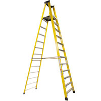 Bauer Corporation 35114 351 Series Type 1A 14' Safety Yellow Fiberglass Platform Ladder with Steel Platform - 300 lb. Capacity
