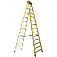Bauer Corporation 35014 350 Series Type 1A 14' Safety Yellow Fiberglass Step Ladder - 300 lb. Capacity