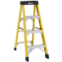 Bauer Corporation 30804 308 Series Type 1AA 4' Safety Yellow Fiberglass Step Ladder - 375 lb. Capacity