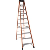Bauer Corporation 30410 304 Series Type 1A 10' Safety Orange Fiberglass Step Ladder - 300 lb. Capacity