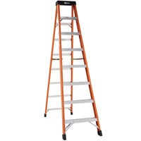 Bauer Corporation 30408 304 Series Type 1A 8' Safety Orange Fiberglass Step Ladder - 300 lb. Capacity