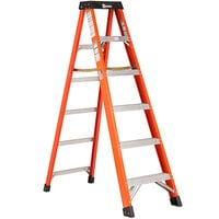 Bauer Corporation 30406 304 Series Type 1A 6' Safety Orange Fiberglass Step Ladder - 300 lb. Capacity