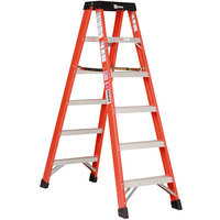 Bauer Corporation 35405 354 Series Type 1A 5' Safety Orange Fiberglass 2-Way Step Ladder - 300 lb. Capacity
