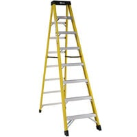 Bauer Corporation 30808 308 Series Type 1AA 8' Safety Yellow Fiberglass Step Ladder - 375 lb. Capacity