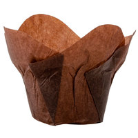 Hoffmaster 611114 2 inch x 2 3/4 inch Chocolate Brown Lotus Baking Cup - 250/Pack