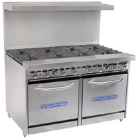 Bakers Pride Restaurant Series 48-BP-8B-S20 Liquid Propane 8 Burner Range with Two Space Saver 20 inch Ovens
