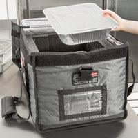 Rubbermaid FG9F1500CGRAY ProServe Insulated Food Pan Carrier Top Load Half Size Gray Nylon 19 inch x 16 3/4 inch x 15 inch
