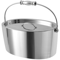 Fortessa CRFTHS.5.3013 Crafthouse Signature 12 inch x 8 inch x 5 1/4 inch Stainless Steel Oval Ice Bucket with Lid and Handle