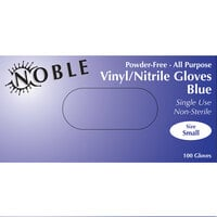 Noble Products 3 Mil Thick Blue Hybrid Powder-Free Gloves - Small - Case of 1000 (10 Boxes of 100)