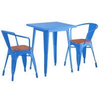 Lancaster Table & Seating Alloy Series 24 inch x 24 inch Blue Dining Height Table with 2 Arm Chairs and Walnut Wooden Seats