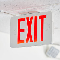 Lavex Industrial Slim Red LED Exit Sign with Battery Backup - 1.0W Unit