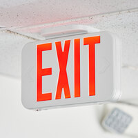 Lavex Industrial Red LED Exit Sign with Adjustable Arrows and Ni-Cad Battery Backup - 0.8 Watt Unit