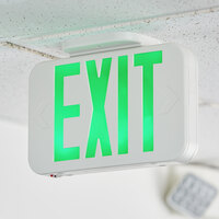 Lavex Industrial Green LED Exit Sign with Adjustable Arrows and Ni-Cad Battery Backup - 0.8 Watt Unit