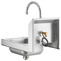 Regency 12 inch x 16 inch Wall Mounted Hands-Free Hand Sink with 11 1/8 inch Gooseneck Sensor Faucet