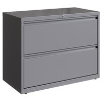Hirsh Industries 23744 HL10000 Series Arctic Silver Two-Drawer Lateral File Cabinet - 36 inch x 18 5/8 inch x 28 inch