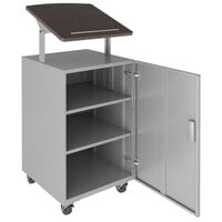Hirsh Industries 24077 Weathered Charcoal / Arctic Silver Mobile Lectern / Podium with Adjustable Laminate Top and Lockable Storage - 18 inch x 18 inch x 50 inch