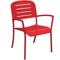 Wabash Valley HA9119P Hanna Collection Red Horizontal Slat Arm Chair