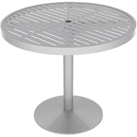 Wabash Valley HA2I79P Hanna Collection 36 inch Round Horizontal Slat Portable Pedestal Table