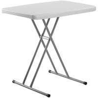 National Public Seating PT3020 Commercialine 20 inch x 30 inch Speckled Gray Height Adjustable Plastic Folding Table