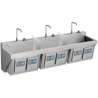 Elkay EWSF39026KWSC Stainless Steel Wall Hung Triple Bowl Surgeon Scrub Sink Kit with Hands-Free Operation - 28 inch x 16 1/4 inch x 11 inch Bowl