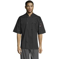Uncommon Threads Delray Pro Vent 0421 Unisex Lightweight Black Customizable Short Sleeve Chef Coat with Mesh Back - 2XL