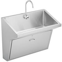 Elkay EWSFAD13620SACC Stainless Steel Wall Hung Single Bowl ADA Surgeon Scrub Sink Kit - 33 inch x 16 1/2 inch x 6 1/2 inch Bowl